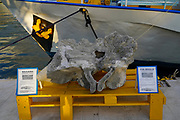 Fin whale spine bone at the harbour at Argostoli on the Greek Island of Cephalonia, Ionian Sea, Greece