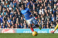 Portsmouth Forward, Omar Bogle (22) during the EFL Sky Bet League 1 match between Portsmouth and Barnsley at Fratton Park, Portsmouth, England on 23 February 2019.