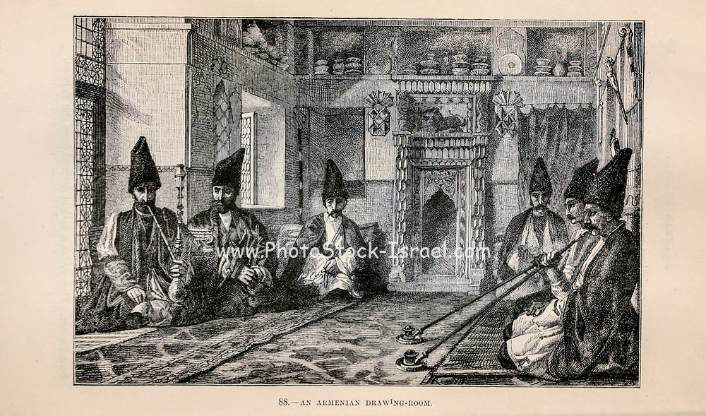 Men smoking in an Armenian drawing room. Engraving on wood From The human race by Figuier, Louis, (1819-1894) Publication in 1872 Publisher: New York, Appleton