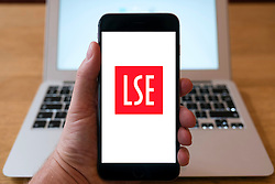 LSE, London School of Economics, logo on website on smart phone screen.