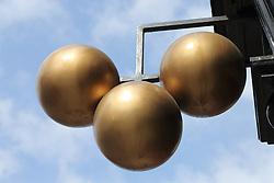 Three balls sign outside pawnbrokers shop, Edinburgh.