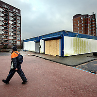 Nederland, Amsterdam , 25 februari 2015.<br /> Wietplantage uit een voormalig supermarkt aan het Leksmondplein is onlangs opgerold,<br /> Nieuwe bestemming is onbekend.<br /> Foto:Jean-Pierre Jans