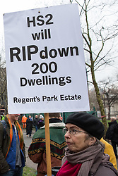 London, UK. 12th January, 2018. A local resident stands holding an anti-HS2 placard in Euston Square Gardens. Local residents and environmental campaigners are protesting against the planned felling of mature London Plane, Red Oak, Common Whitebeam, Common Lime and Wild Service trees in Euston Square Gardens to make way for temporary sites for construction vehicles and a displaced taxi rank as part of preparations for the HS2 high-speed rail line.