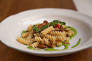 I was hired to photograph ten Italian New York chefs competing in a pasta competition for Pastificio di Martino from Italy. This dish is from Carlo Bigi from Il Buco in Manhattan. He prepared a cold lemon flavored tortiglioni with anchovies, mushrooms, watercress and Calabrian chili Still image from the Pastificio di Martino Pasta chef competition in New York, Primo di Manhattan