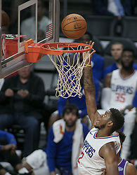 October 12, 2017 - Los Angeles, California, U.S - Tyrone Wallace #12 of the Los Angeles Clippers goes for a  layup during their preseason game against the Sacramento  Kings Thursday October 12, 2017 at the Galen Center in  USC in Los Angeles, California. Clippers defeat Kings, 104- 87. (Credit Image: © Prensa Internacional via ZUMA Wire)