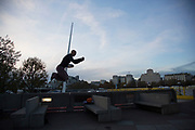 Parkour practitioners on the Southbank, London, United Kingdom. The South Bank is a significant arts and entertainment district, and home to an endless list of activities for Londoners, visitors and tourists alike. (photo by Mike Kemp/In Pictures via Getty Images)
