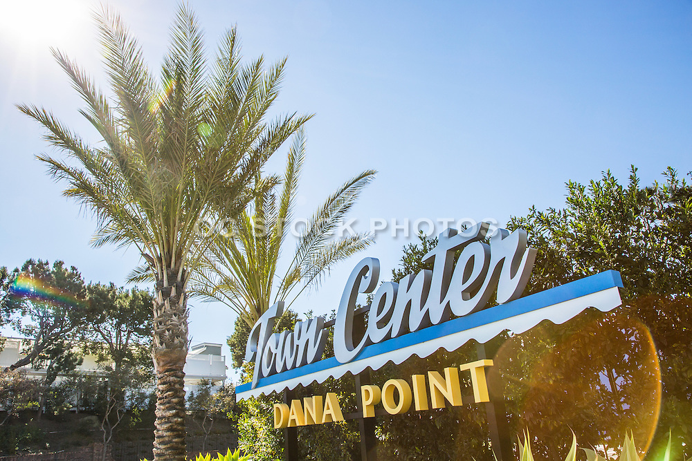 Vintage Stock Photo of Town Center Sign in Dana Point on PCH