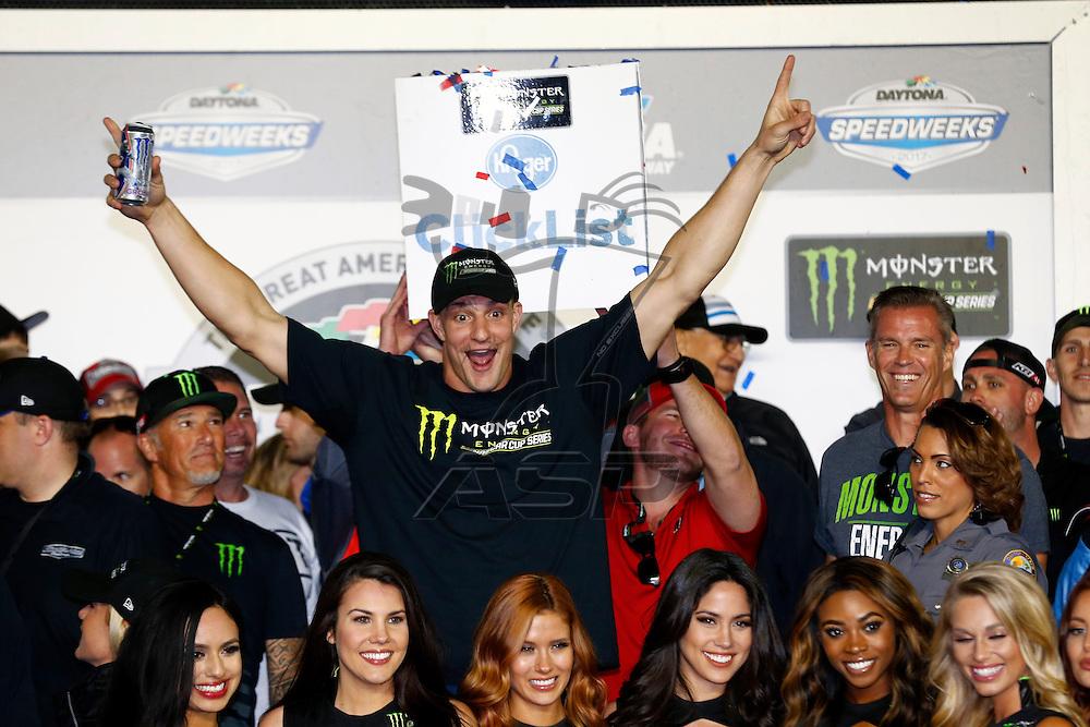 February 26, 2017 - Daytona Beach, Florida, USA: Rob Gronkowski celebrates in victory lane after winning the Daytona 500 at Daytona International Speedway in Daytona Beach, Florida.