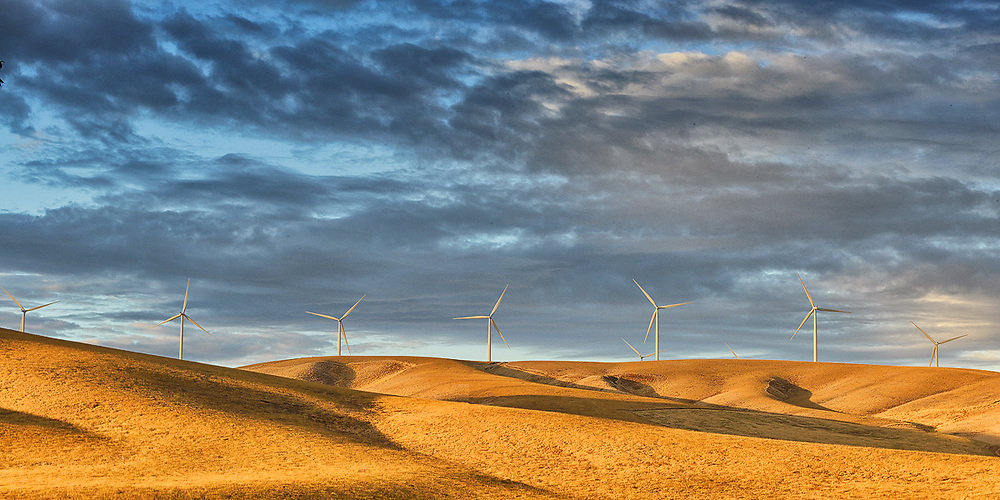 A group of wind turbines.