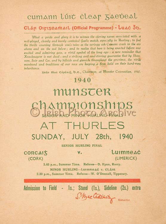 Munster Senior and Minor Hurling Championship Final, .07281940MSMHF.28.07.1940, 07.28.1940, 28th July 1940, ..Senior Cork v Limerick.Minior Limerick v Clare.