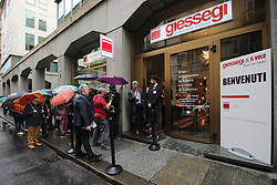 May 4, 2017 - Turin, Italy - Singers Il Volo inaugurated the Giessegi Store, a new sales experience centered on single-brand furniture. The canoral group has been holding a two-year partnership as a testimonial, dictated by shared values such as professionalism, constant commitment and seriousness in their work. (Credit Image: © Elena Aquila/Pacific Press via ZUMA Wire)