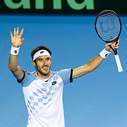 Leonardo Mayer of Argentina celebrates after winning against Daniel Evans of Britain during the Tennis Davis Cup semi final between Britain and Argentina in Glasgow, Scotland, Britain, 18 September 2016. EPA/ROBERT PERRY