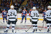 KELOWNA, CANADA - OCTOBER 2: Darnell Nurse #25 of the Edmonton Oilers lines up against Los Angeles Kings on October 2, 2016 at Kal Tire Place in Vernon, British Columbia, Canada.  (Photo by Marissa Baecker/Shoot the Breeze)  *** Local Caption *** Darnell Nurse;