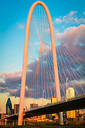 The Margaret Hunt Hill Bridge is a bridge in Dallas, Texas which spans the Trinity River and was built as part of the Trinity River Project. Designed by Santiago Calatrava, it is one of three such bridges planned to be built over the Trinity; the second, the Margaret McDermott Bridge, is currently under construction. The span parallels the Continental Avenue Bridge, a walking bridge.<br /> <br /> The bridge is named for Margaret Hunt Hill, an heiress and philanthropist.<br /> <br /> Dallas is the ninth most populous city in the United States of America and the third most populous city in the state of Texas. The Dallas-Fort Worth metroplex is the largest metropolitan area in the South and fourth-largest metropolitan area in the United States. Divided among Collin, Dallas, Denton, Kaufman, and Rockwall counties, the city had a population of 1,197,816 in 2010, according to the United States Census Bureau.