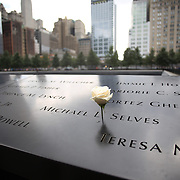 A rose amongst the names of the those who died at the National September 11 Memorial in Downtown Manhattan, New York City, USA. 16th September 2014. Photo Tim Clayton