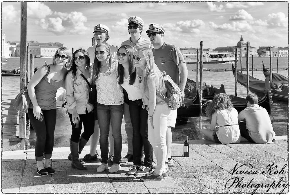 Young American tourists posing for a group photograph