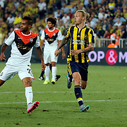 Fenerbahce's (L) Kjær and Shakhtar Donetsk's during Alex Teixeira (L) their UEFA Champions league third qualifying round first leg soccer match Fenerbahce between Shakhtar Donetsk at the Sukru Saracaoglu stadium in Istanbul Turkey on Tuesday 28 July 2015. Photo by Aykut AKICI/TURKPIX