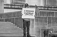"""Participant  at a protest  against the 2020 election results at  Louisiana State Capitol in Baton Rouge on Nov 14,  one of <br /> many protests across the nation in support of Trump happening at the same time as the """"Million MAGA March"""" in Washington DC."""