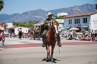 Sheriff horse rider in Fiesta parade, Santa Barbara, California, USA