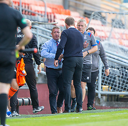 Inverness Caledonian Thistle's manager John Robertson and Dundee United's manager Robbie Neilson at the end. Dundee United 4 v 1 Inverness Caledonian Thistle, first Scottish Championship game of season 2019-2020, played 3/8/2019 at Tannadice Park, Dundee.