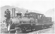 """RGS class 60 2-8-0 #18 in Telluride yard.<br /> RGS  Telluride, CO  ca. 1915<br /> In book """"Rio Grande Southern, The: An Ultimate Pictorial Study"""" page 162<br /> See RD155-089 for original print."""