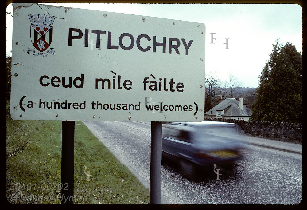 Sign along road welcomes travelers to the town of Pitlochry in the Perthshire Highlands. Scotland