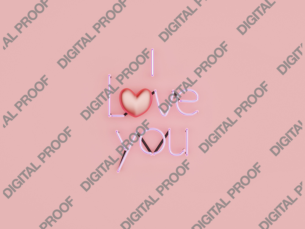 I Love You neon sign mode on with glossy heart in studio over a pink background - 3d rendering concept
