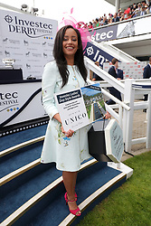 Abigail Scott from Surrey wins 1st prize in the Investic Ladies Day Style Awards on Ladies Day during the 2017 Investec Epsom Derby Festival at Epsom Racecourse, Epsom.