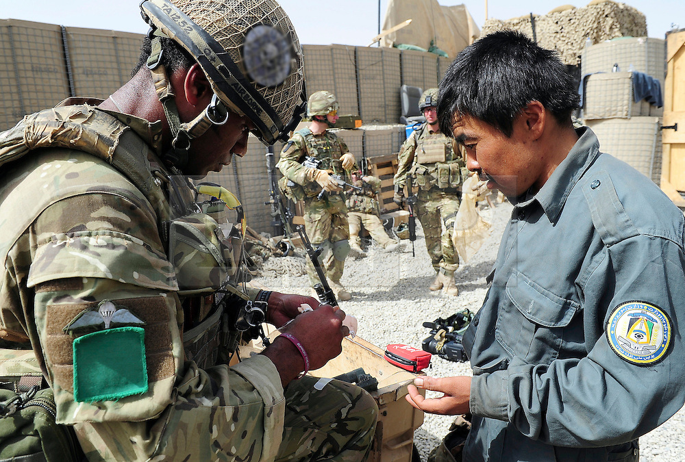 © under license to London News Pictures. 03/04/11. Soldiers from 3 Parachute Regiment head out on a normal routine patrol in the area of the Showal bazaar today (26 Mar 11) in Afghanistan.  The men from A Company are now able to step outside their patrol base and chat to the locals in an area that has seen significant change over the past six months. Through strong tactics and persistence 3 Para have restored a sense of security within the local area and have improved relations with the Afghan National Army (ANA), with whom they regularly patrol.. Photo credit should read Sergeant Alison Baskerville/MOD/LNP  ..NOTE TO DESKS: .MoD release authorised handout images.