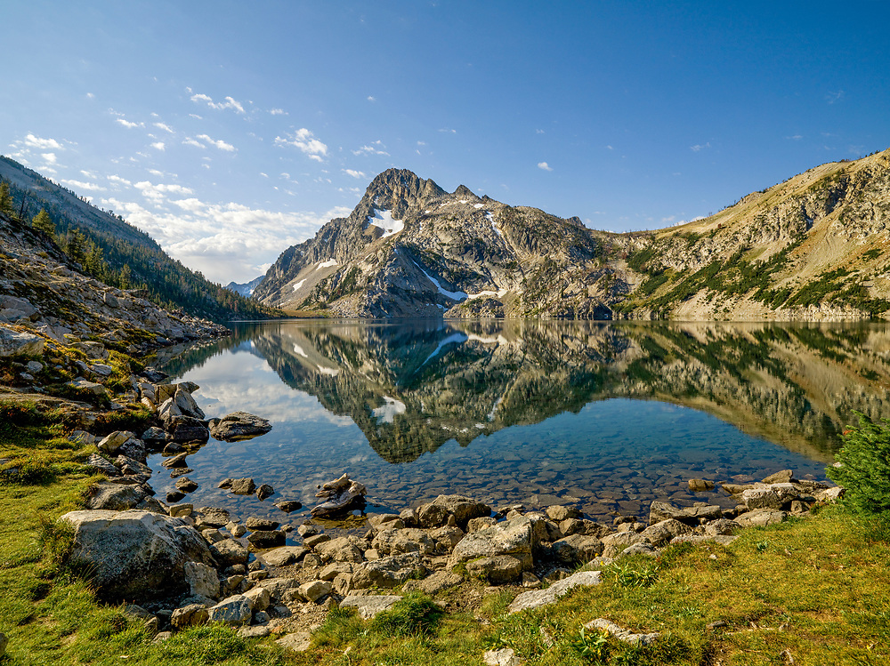 Sawtooth Lake in the stillness of morning with the Reflection of Mt. Regan at 10,190 ft / 3160 meters in the mirror surface of the water. Licensing and Limited Edition Prints.