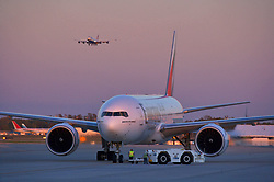 Airplane being serviced at Houston's Intercontinental Airport