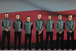 February 23, 2019 - Abu Dhabi, United Arab Emirates - CCC Team from Poland, during the Team Presentation, at the opening ceremony of the 1st UAE Tour, inside Louvre Abu Dhabi museum..On Saturday, February 23, 2019, Abu Dhabi, United Arab Emirates. (Credit Image: © Artur Widak/NurPhoto via ZUMA Press)