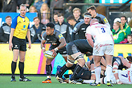 Newcastle Falcons Scrum-half Sonatane Takulua (9) passes the ball from the ruck during the Aviva Premiership match between Newcastle Falcons and Leicester Tigers at Kingston Park, Newcastle, United Kingdom on 29 October 2017. Photo by Simon Davies.