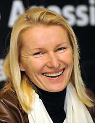 February 16, 2011 - Prague, Czech Republic - FILE PHOTO FROM February 16 2011 Jana Novotna of Czech Republic smiles during the press conference prior to the Advantage Tennis 4 event in Prague, Czech Republic, February 16, 2011. Czech tennis player Jana Novotna, winner of Wimbledon, died after a serious illness on Sunday, November 19, 2017 at the age of 49 years. She won the women's singles title at Wimbledon in 1998. She worked as a tennis coach in the past years. (Credit Image: © Roman Vondrous/CTK via ZUMA Press)