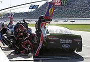 Kurt Busch (41) makes a pit stop during a NASCAR Cup Series auto race at Kansas Speedway in Kansas City, Kan., Sunday, Oct 21, 2018. (AP Photo/Colin E. Braley)
