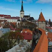 Tallinn skyline with city wall towers and Oleviste church