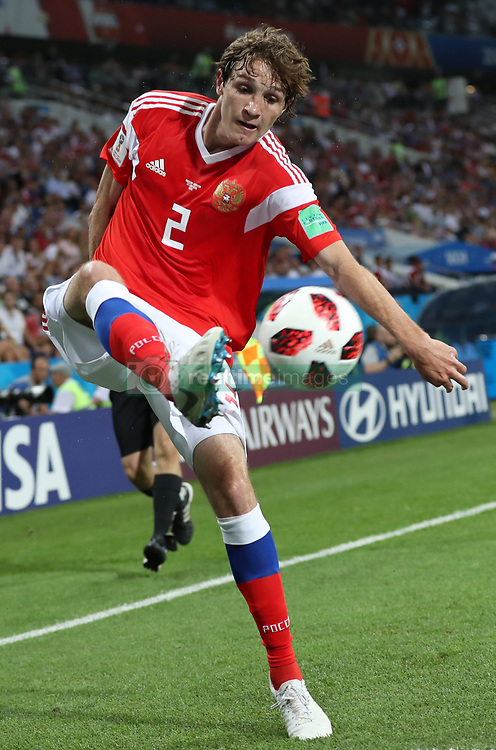 SOCHI, July 7, 2018  Mario Fernandes of Russia controls the ball during the 2018 FIFA World Cup quarter-final match between Russia and Croatia in Sochi, Russia, July 7, 2018. (Credit Image: © Xu Zijian/Xinhua via ZUMA Wire)