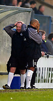 Photo: Alan Crowhurst.<br />Wycombe Wanderers v Rochdale. Coca Cola League 2.<br />10/12/2005. <br />Rochdale coach Steve Parkin (L) can't believe whats happening to Rochdale.