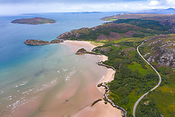 Aerial view of coast and beaches in Gruinard Bay in Ross and Cromarty, Scotland, UK