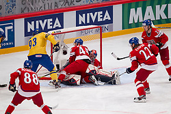 05.05.2012, Ericsson Globe, Stockholm, SWE, IIHF, Eishockey WM, Schweden (SWE) vs Tschechische Republik (CZE), im Bild, Sverige Sweden 93 Johan Franzen , Czech Republic 44 Miroslav Blatak (Salavat Julajev) , Czech Republic 33 Goalkeeper Jakub Stepanek (SKA St Petersburg) // during the IIHF Icehockey World Championship Game between Sweden (SWE) and Czech Republic (CZE) at the Ericsson Globe, Stockholm, Sweden on 2012/05/05. EXPA Pictures © 2012, PhotoCredit: EXPA/ PicAgency Skycam/ Sami Grahn..***** ATTENTION - OUT OF SWE *****