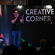 Remi Kanazi is a poet performs at Palestine Expo 2019 on 7 July 2019, at London Olympia, UK.