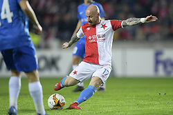 February 14, 2019 - Prague, CZECH REPUBLIC - Slavia's Miroslav Stoch pictured in action during a soccer game between Czech club SK Slavia Praha and Belgian team KRC Genk, the first leg of the 1/16 finals (round of 32) in the Europa League competition, Thursday 14 February 2019 in Prague, Czech Republic. BELGA PHOTO YORICK JANSENS (Credit Image: © Yorick Jansens/Belga via ZUMA Press)