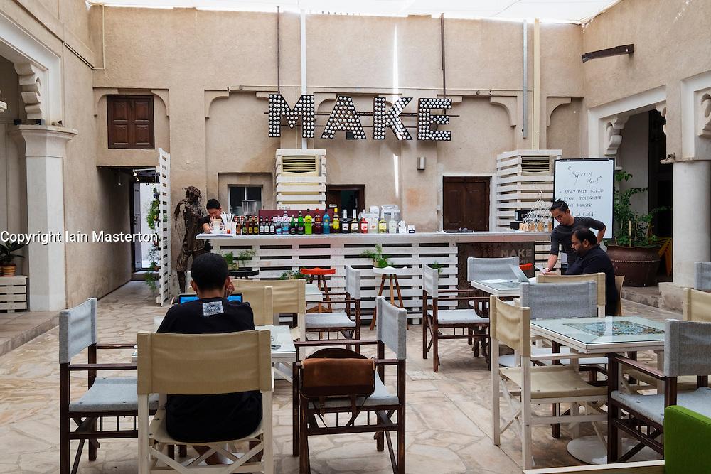 Cafe inside courtyard at  Alserkal Cultural Foundation gallery in Bastakiya old district of Dubai United Arab Emirates