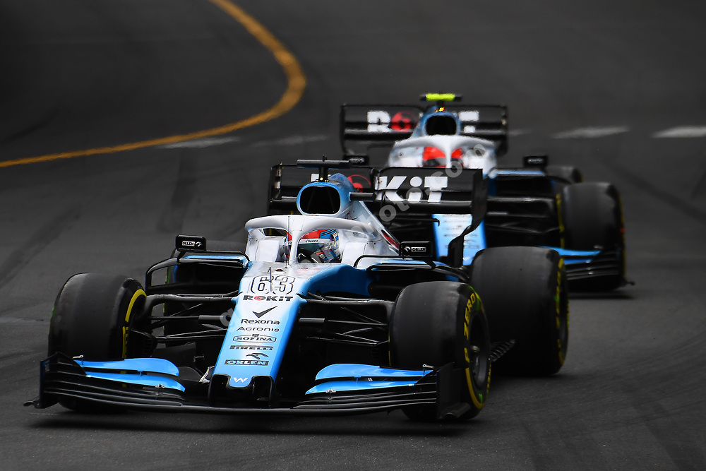 Robert Kubica in front of Williams-Mercedes teammate George Russell during the 2019 Monaco Grand Prix. Photo: Grand Prix Photo