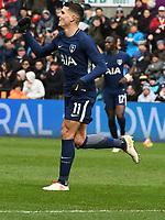 Football - 2017 / 2018 FA Cup - Quarter-Final: Swansea City vs. Tottenham Hotspur<br /> <br /> Kieran Trippier of Tottenham celebrates scoring his team's second goal, at The Liberty Stadium.<br /> <br /> COLORSPORT/WINSTON BYNORTH