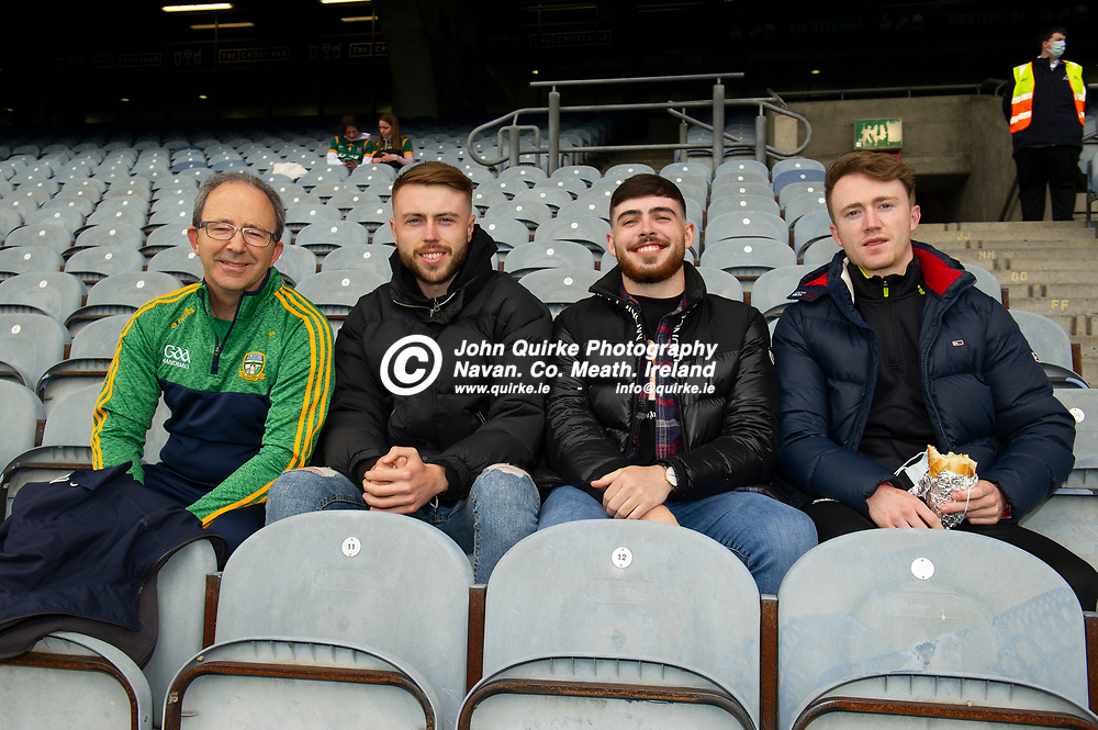 26-06-21. Meath v Kerry - Lidl Ladies National Football League Division 2 Final at Croke Park L to R: John Leahy, Niall Lyons, Jack Leonard and Patrick Leahy all from Navan supporting the Meath Ladies.<br /> Photo: John Quirke / www.quirke.ie<br /> ©John Quirke Photography, 16 Proudstown Road, Navan. Co. Meath. (info@quirke.ie / 046-9028461 / 087-2579454).