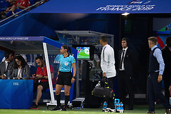 Referee Edina Alves Batista checks the VAR monitor during the 2019 FIFA Women's World Cup France Semi Final match between England and USA at Stade de Lyon on July 02, 2019 in Lyon, France.<br /> Photo by David Niviere/ABACAPRESS.COM