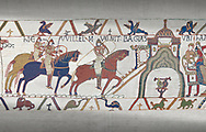 Bayeux Tapestry scene 22:  Duke William and Harold ride to Bayeux after defeating Duke of Britany. .<br /> <br /> If you prefer you can also buy from our ALAMY PHOTO LIBRARY  Collection visit : https://www.alamy.com/portfolio/paul-williams-funkystock/bayeux-tapestry-medieval-art.html  if you know the scene number you want enter BXY followed bt the scene no into the SEARCH WITHIN GALLERY box  i.e BYX 22 for scene 22)<br /> <br />  Visit our MEDIEVAL ART PHOTO COLLECTIONS for more   photos  to download or buy as prints https://funkystock.photoshelter.com/gallery-collection/Medieval-Middle-Ages-Art-Artefacts-Antiquities-Pictures-Images-of/C0000YpKXiAHnG2k