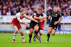 Ben Moon of Exeter Chiefs, is tackled - Mandatory by-line: Ryan Hiscott/JMP - 18/05/2019 - RUGBY - Sandy Park - Exeter, England - Exeter Chiefs v Northampton Saints - Gallagher Premiership Rugby