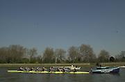Putney, LONDON.  Varsity Boat Race -28/03/2002 - 2002 Varsity Boat Race-Tideway week.  OXford back on to the Stake Boats, practice starts. [Mandatory Credit: Peter Spurrier/Intersport Images] 2002 Varsity, Tideway Week :Challenge : Weigh-in